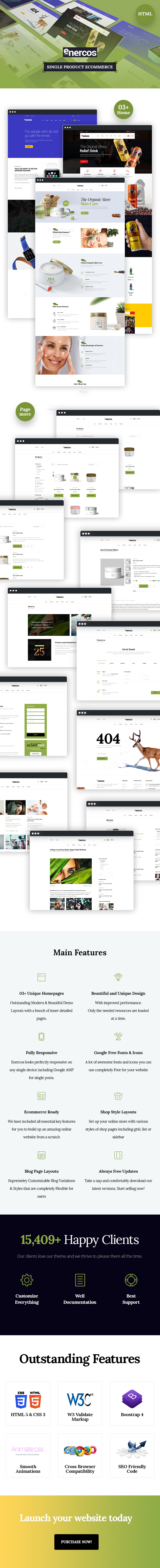 Enercos - Single Product eCommerce HTML5 Template - 1